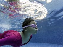 Little Girls are swimming in the pool royalty free stock photos