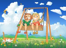 Little girls on swing Stock Image