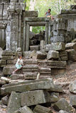 Little girls in temple ruins Royalty Free Stock Image