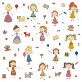 Little girls vector. Cartoon drawing of children. Daughter and mother. Girls play. Stock Photo