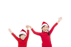 Little girls  wearing red Christmas hat Stock Images