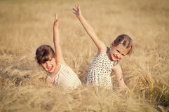 Little girls in wheat field Royalty Free Stock Photos