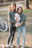 Little girls with a white puppy. A puppy in the hands of a girls. Little smiling blond girls sitting together hugging puppy in a park stock image
