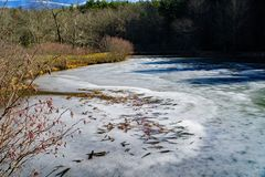 Little Glade Mill Pond. Blue Ridge Parkway, NC – December 19th: A view of a frozen Little Glade Mill Pond located on the Blue Ridge Mountains at mile 230.1 stock photography