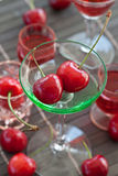 Little glass with fresh cherries Royalty Free Stock Photography
