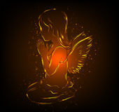Little glowing angel girl praying. Shiny glowing silhouette of an angel girl uttering the prayer Royalty Free Stock Photography