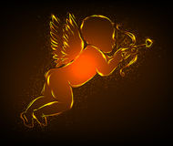Little glowing Cupid with bow. Shiny glowing silhouette of a cupid with a bow Royalty Free Stock Photo