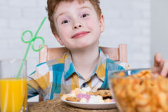 Little glutton and plate full of sweets. Happy little boy eating cookies and chocolate for dessert. Next to him on the table bowl full of chips and orange juice royalty free stock photos