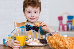 Little glutton and plate full of sweets. Happy little boy eating cookies and chocolate for dessert. Next to him on the table bowl full of chips and orange juice royalty free stock image