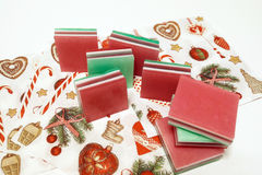 Little glycerin soaps; vegetable based. They are in festive colo Royalty Free Stock Photography