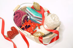 Little glycerin soaps; vegetable based. They are in festive colo Stock Photos