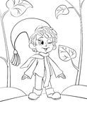Little gnome boy coloring page royalty free illustration