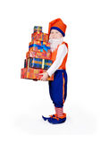 Little gnome with gift boxes Royalty Free Stock Photography