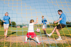 Little goalkeeper Royalty Free Stock Images