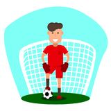 Little goalkeeper. A young man is going to play football. Kid with a soccer ball in front of goal. Flat style. Vector illustrator Stock Photos