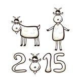 Little goat. New Years set of goat isolated on white background, illustration royalty free illustration