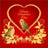 Little golden birds and heart golden leaves valentines place for text red background vintage vector illustration editable. Hand draw royalty free illustration