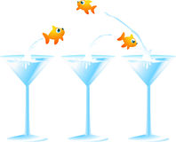 Little goldish fish jumping from a cocktail. Glass to another f, leaving in the first one two fish friends. Vector illustration Royalty Free Stock Photos
