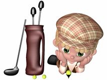 Little Golf Player - Toon Figure. 3 D Render of an Little Golf Player Royalty Free Stock Image