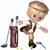 Little Golf Player - Toon Figure. 3 D Render of an Little Golf Player Royalty Free Stock Photography