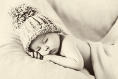 Little gorgeous baby boy with a big hat. And a teddy bear Stock Images