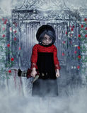 Little gothic girl with doll 3D, CG Royalty Free Stock Photography