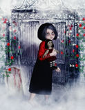 Little gothic girl with ragg-doll 3D, CG Royalty Free Stock Photos