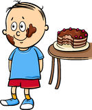 Little gourmand boy cartoon Royalty Free Stock Images