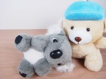 Little gray koala bear doll, lie down on light beige bear`s lap. Wood floor Stock Photography