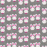 Rabbit girls and boys on gray regular Stock Photo