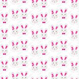 Little gray pink rabbit girls and boys Royalty Free Stock Image