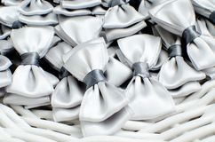Little gray ties as decoration. For the wedding service Royalty Free Stock Photo