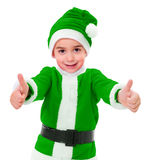 Little green Christmas boy showing thumbs up Stock Images