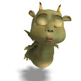 Little green cute toon dragon devil Royalty Free Stock Image