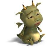Little green cute toon dragon devil Stock Photo