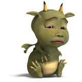Little green cute toon dragon devil Stock Photography
