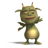 Little green cute toon dragon devil Royalty Free Stock Images
