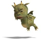 Little green cute toon dragon devil Royalty Free Stock Photos