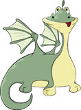 Little green dragon cartoon Stock Image