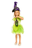 Little green fairy girl with lantern isolated Royalty Free Stock Photos