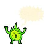 Little green flame spirit cartoon Royalty Free Stock Photo