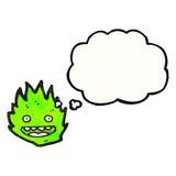Little green flame spirit cartoon Stock Image