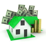 Little green house with money. 3d Stock Photo