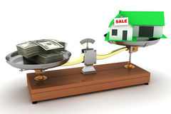Little green house on weight benefit money Royalty Free Stock Photography