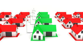 Little green houses with windmills Royalty Free Stock Photography