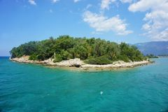 Little green island in the Mediterranean sea. In sunny day royalty free stock images