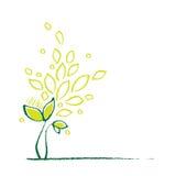 Little green plant, decorative symbol. Artistic freehand drawing, grunge natural media linework stock illustration