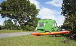 Little green retro caravan Stock Photography