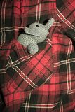 Grey elephant crocheted sitting in plaid shirt pocket stock photography