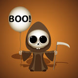 Little grim reaper with scythe and air balloon. Boo. Royalty Free Stock Photo